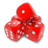 Red dice. Stack of red dice, large  isolated, white background. Destiny, fate or luck metaphor Royalty Free Stock Image