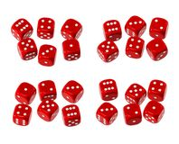 Red Dice. Red  dice collection isolated on white, top view v.1 Royalty Free Stock Photography