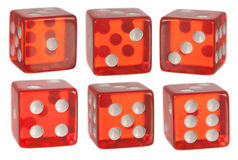 Red dice. A set of red dice on white Stock Photography