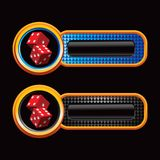 Red dice on blue and black checkered banners royalty free illustration
