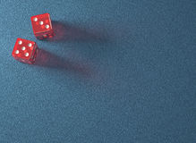 Red Dice Blue Table Stock Images
