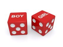 Red dice with boy and girl written Royalty Free Stock Images