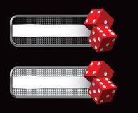 Red dice on checkered black and silver banners Stock Images