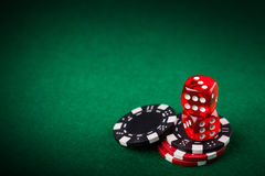 Red dice and chips Royalty Free Stock Images