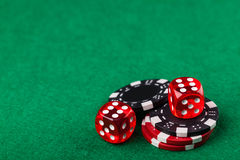 Red dice and chips Royalty Free Stock Photos