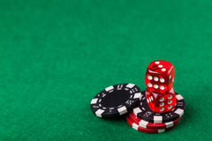 Red dice and chips Stock Images