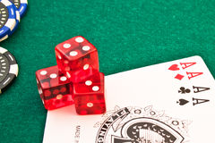 Red dice chips poker and card poker Royalty Free Stock Photos