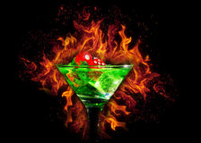Red dice in a cocktail glass on Fire background. casino series Stock Image