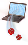 Red dice and computer Royalty Free Stock Photography