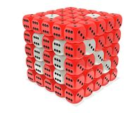 Red grid dice. Red dice grid box. Dice cubes cluster Stock Images