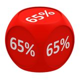 Discount cube concept 65%. Red dice cube with 65 percent symbol on each face 3D render Royalty Free Stock Images