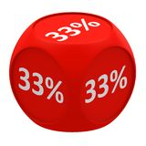 Discount cube concept 33%. Red dice cube with 33 percent symbol on each face Stock Photos
