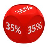 Discount cube concept 35%. Red dice cube with 35 percent symbol on each face Royalty Free Stock Photos
