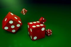 A red dice. 3D red dice abstract background stock illustration