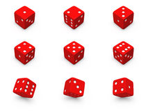Red dice from different angles. Red dice from different positions on a white background Stock Photos