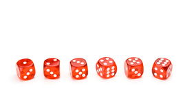 Red dice with each number facing up Royalty Free Stock Photos