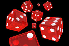 Red Dice. Eight  Red Dice 3D Illustration (with clipping path Stock Photography