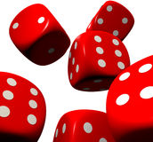 Red dice falling Royalty Free Stock Photography