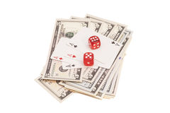 Red dice with four aces and dollars Stock Photos