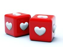 Red dice with hearts. Isolated on white Stock Photography