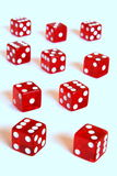 Red dice horizon. Red dice offering lots of chances Stock Image
