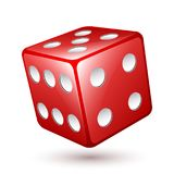 Red dice icon, vector illustration. Red dice falls on the white surface, vector icon. Vector illustration on white background stock illustration