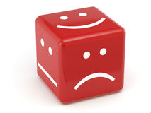Red dice of mood. Red dice with smile symbols on white background stock illustration