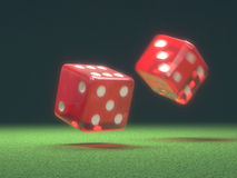 Red Dice In Motion Stock Photography
