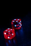 Red dice on old wood black table with space for text Royalty Free Stock Photography