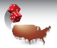Red dice over united states icon Royalty Free Stock Image