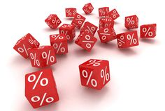 Red dice percent Royalty Free Stock Photos