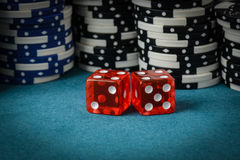 Red Dice and Poker Chips Stock Image