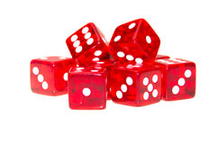 Red dice scattered with different numbers Stock Image