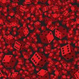 Red Dice Seamless Pattern, 3D illustration. On Black Background stock illustration