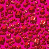 Red Dice Seamless Pattern, 3D illustration. On Pink Background royalty free illustration