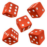 Red dice set. Vector icon Royalty Free Stock Images