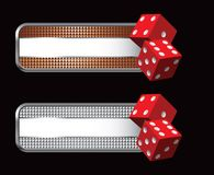 Red dice on specialized banners Stock Images