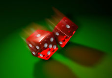 Red-dice-toss. Computer-generated 3D illustration depicting a roll of the red transparent dice on a green surface Stock Photos