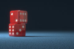 Red Dice. Two red dice one on top of another. Clipping path included royalty free stock photos