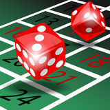 Red dice. Two red dice with shadow on green roulette table illustration vector Royalty Free Stock Image
