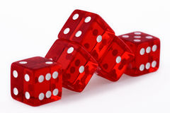 Red dice on white Stock Photos