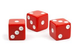 Red dice on white background.  royalty free stock images