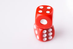 Red dice on white background Stock Photos