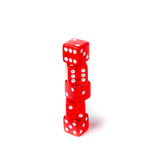 Red dice on a white background Stock Images