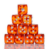 Red Dice on White background Stock Photo