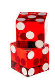 Red dice on white. Two red transparent dice isolated over a white background Royalty Free Stock Images