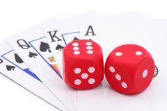 Red dices and cards Royalty Free Stock Photography