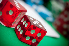 Red dices in casino Stock Image