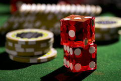 Red dices and chips, casino concep Stock Photography