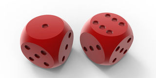Red dices. 3D render of two red dices  on a white background with drop shadow Royalty Free Stock Images